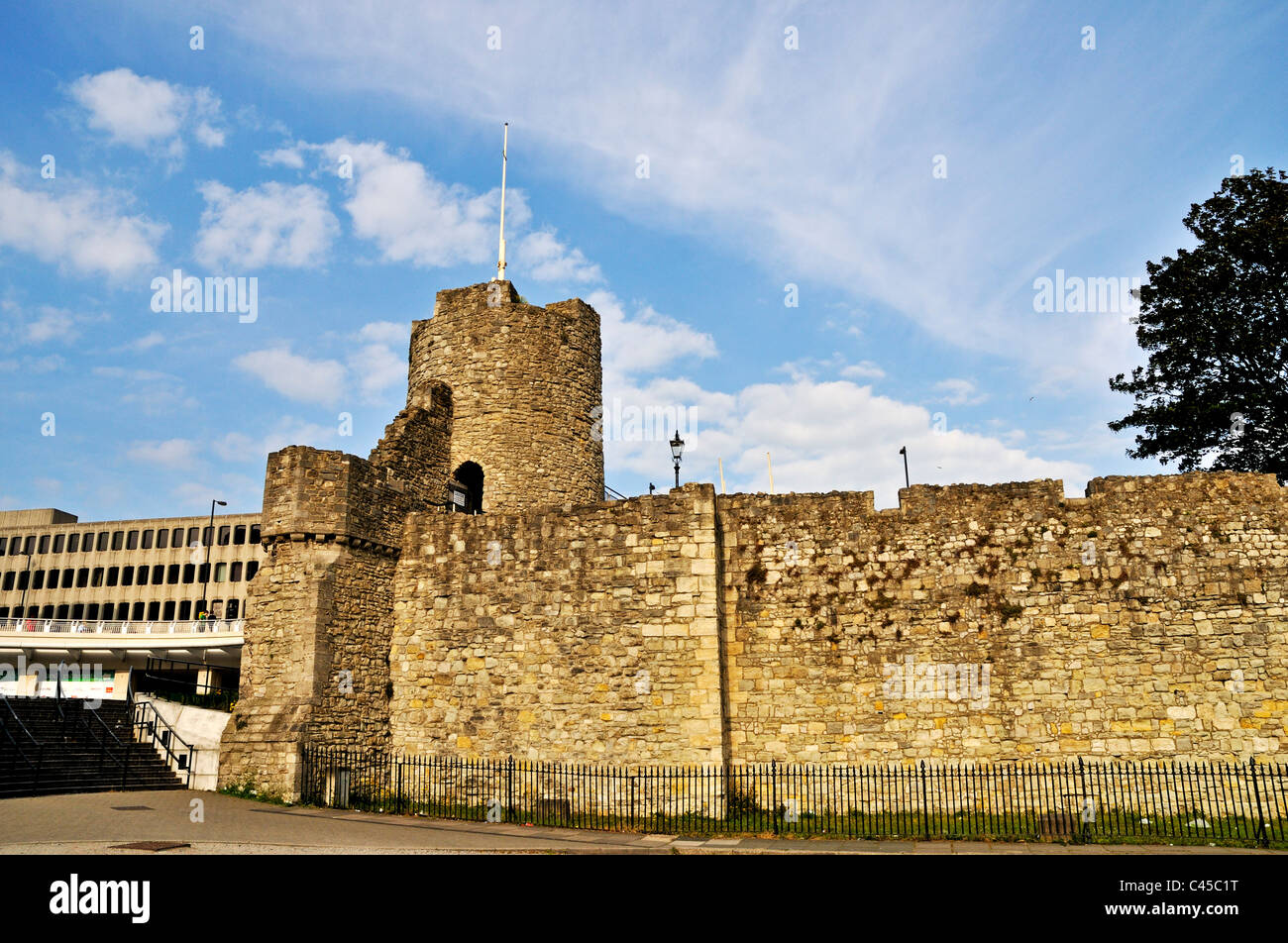 Arundel Tower also given the nickname Windwhistle Tower was built in 1290 as part of the defensive town walls, Southampton - Stock Image