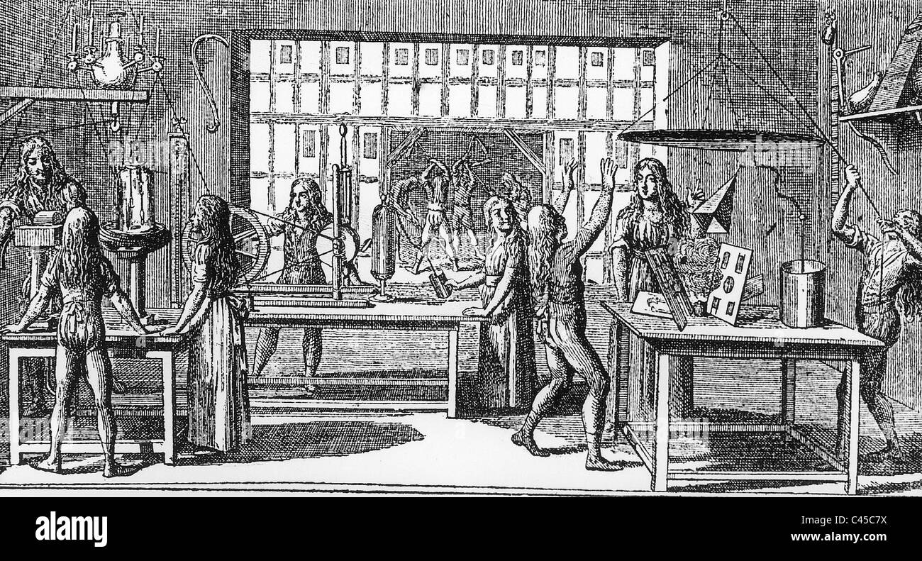 Physics lesson in 1799 Stock Photo