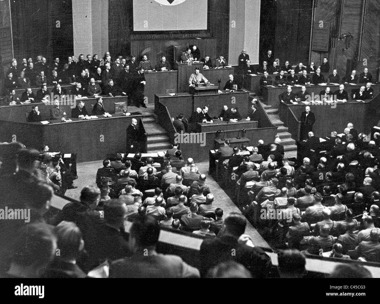 Adolf Hitler speaks to the Reichstag, 1933 - Stock Image