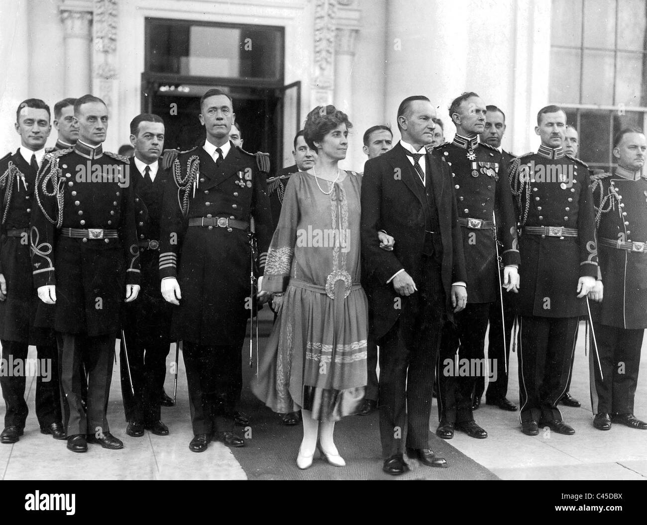 President Calvin Coolidge and his wife, Grace, 1927 Stock Photo