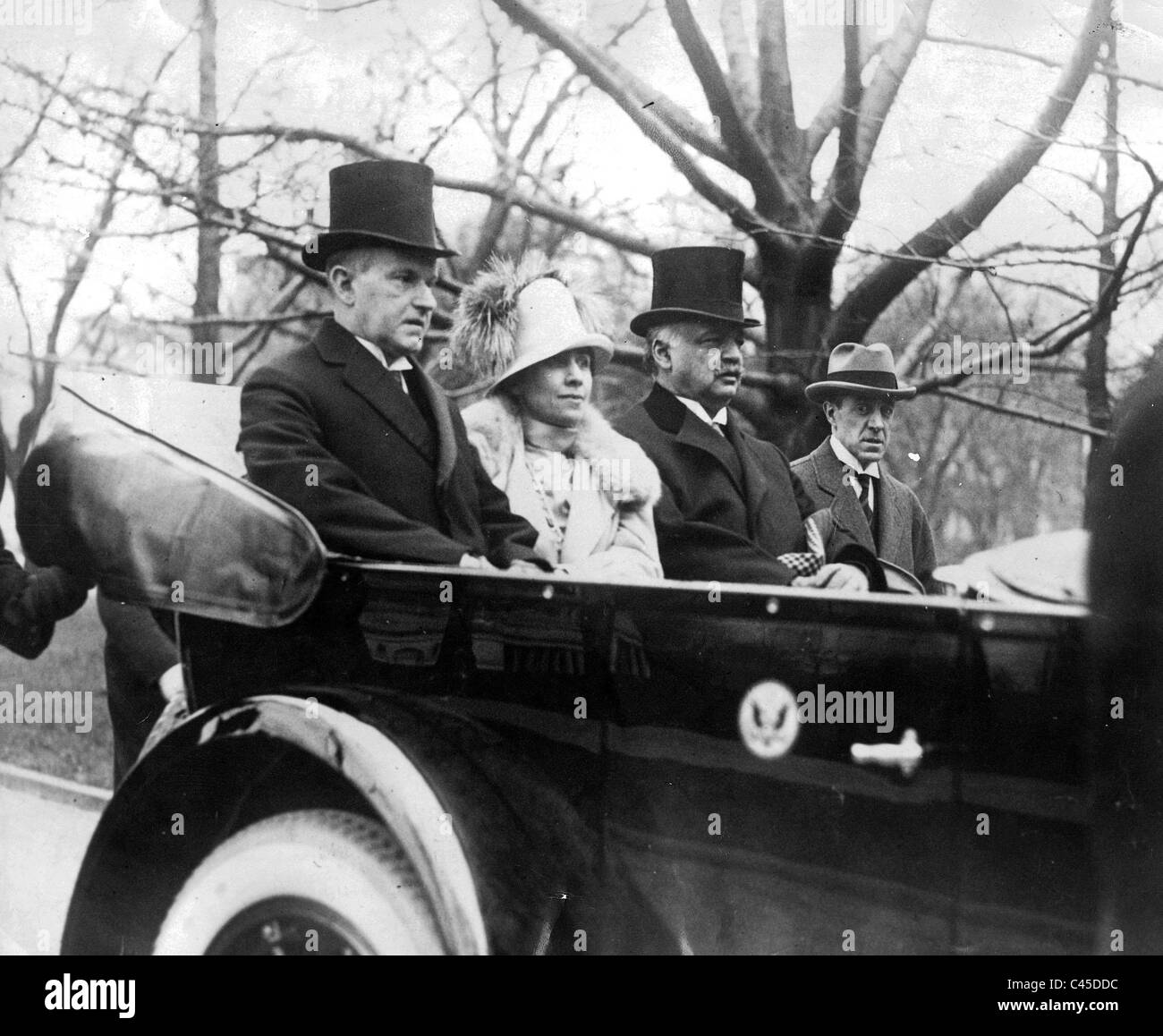 Calvin Coolidge with his wife, Grace Coolidge and consultant Curtis, 1925 Stock Photo