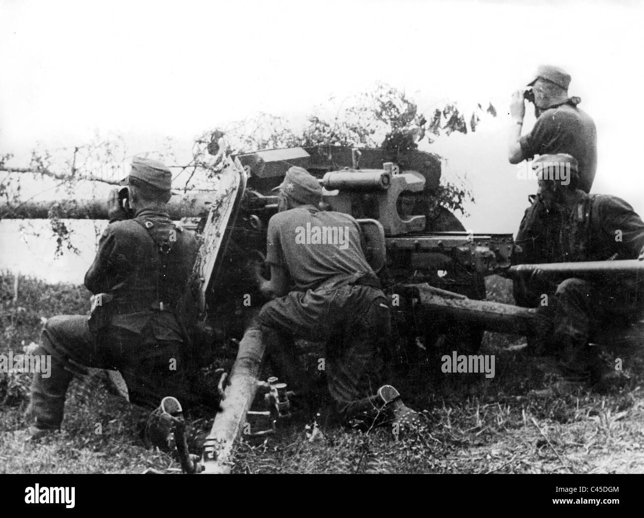 German 7.5 cm anti-tank gun in Russia Stock Photo
