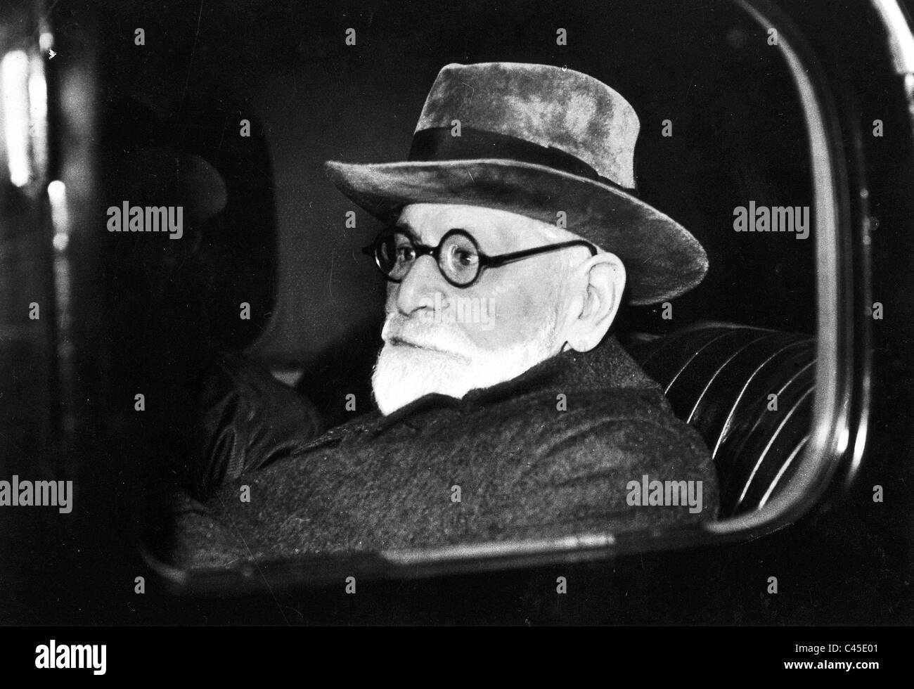 Sigmund Freud in the car, 1938 - Stock Image