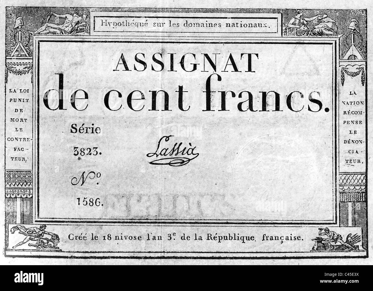 Assignat of 100 Francs - Stock Image