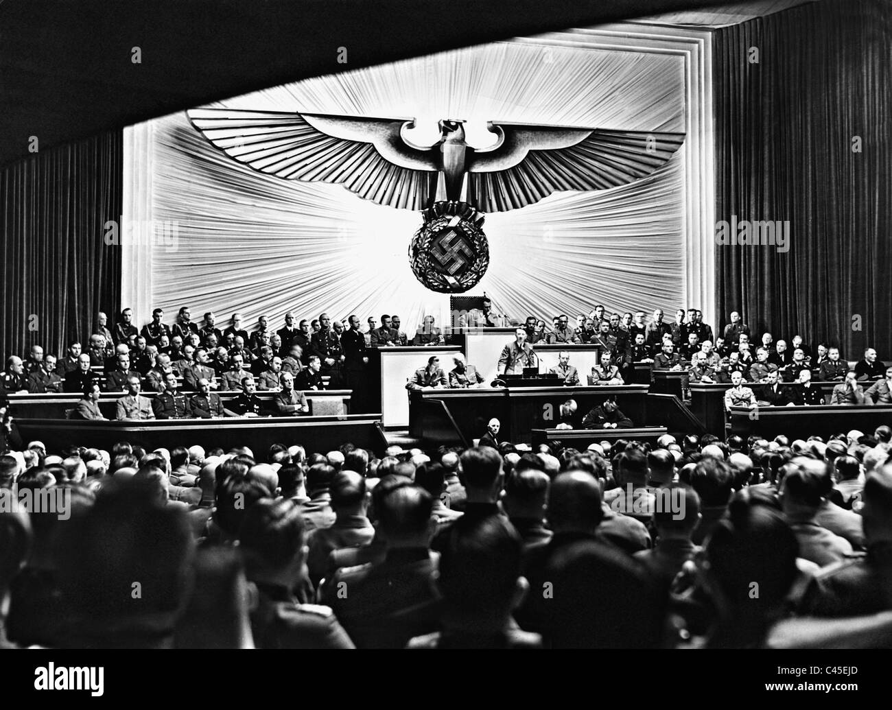 Adolf Hitler addresses to the Reichstag, 1941 - Stock Image