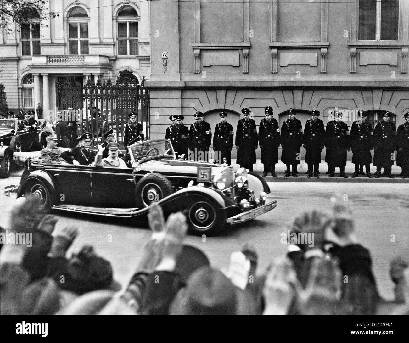 Adolf Hitler on the way to the Reichstag, 1938 - Stock Image