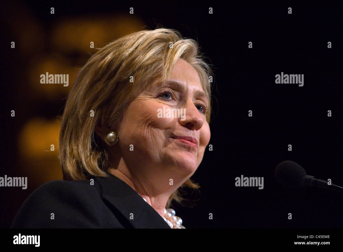 United States' Secretary of State Hillary Clinton makes a speech at the Pakistan American Association in New - Stock Image