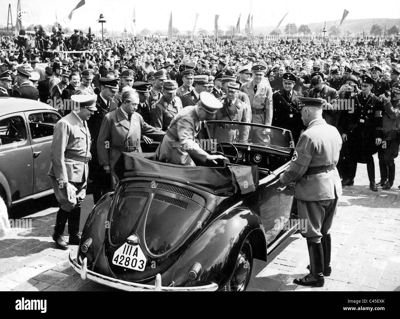 Hitler Porsche Ley Examine Volkswagens Stock Photo