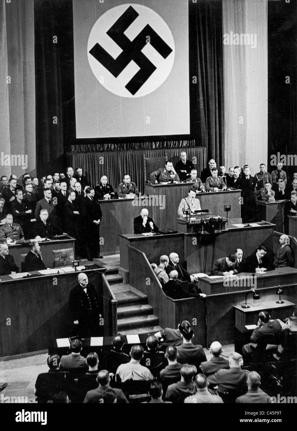 Hitler speaks at the Reichstag 1934 - Stock Image
