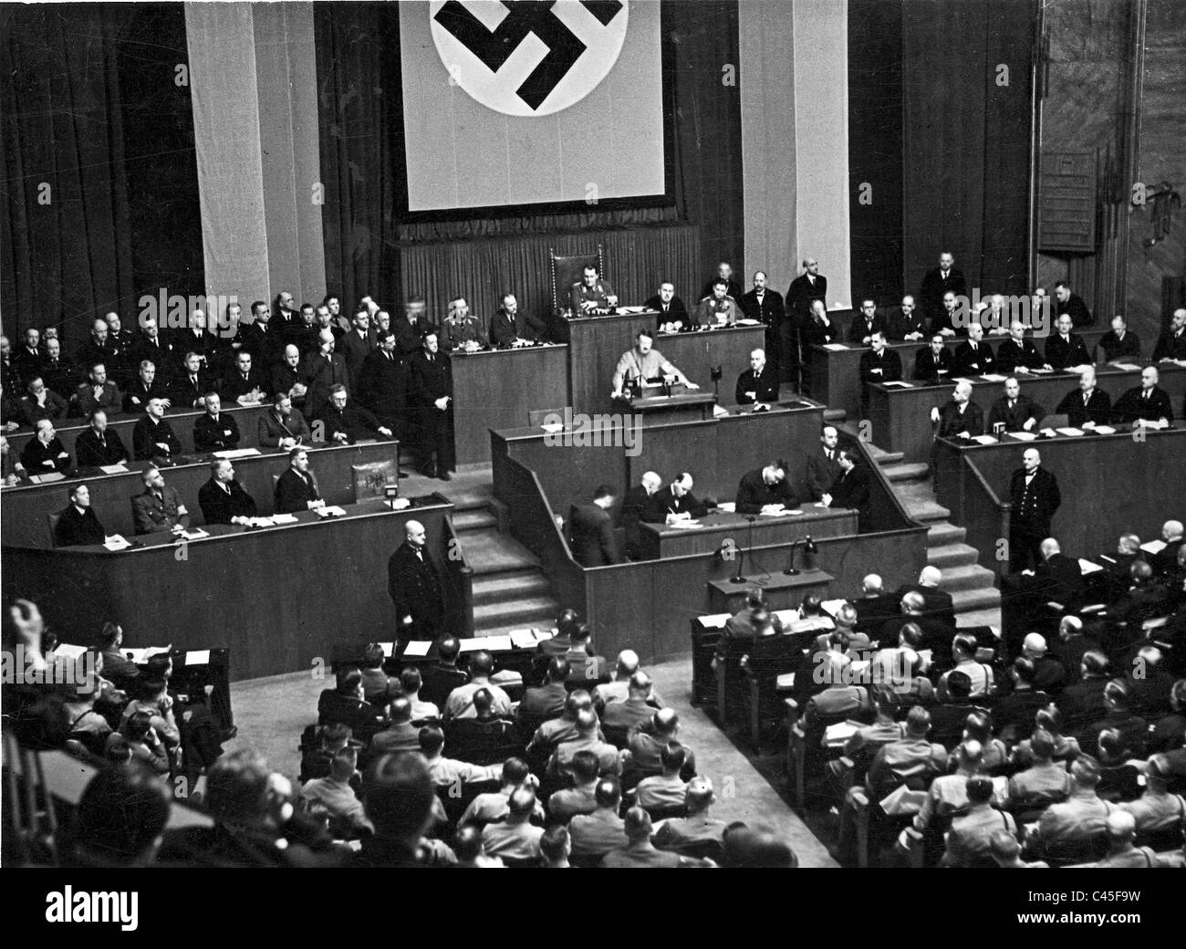 Hitler speaks at the opening session of the Reichstag 1933 - Stock Image
