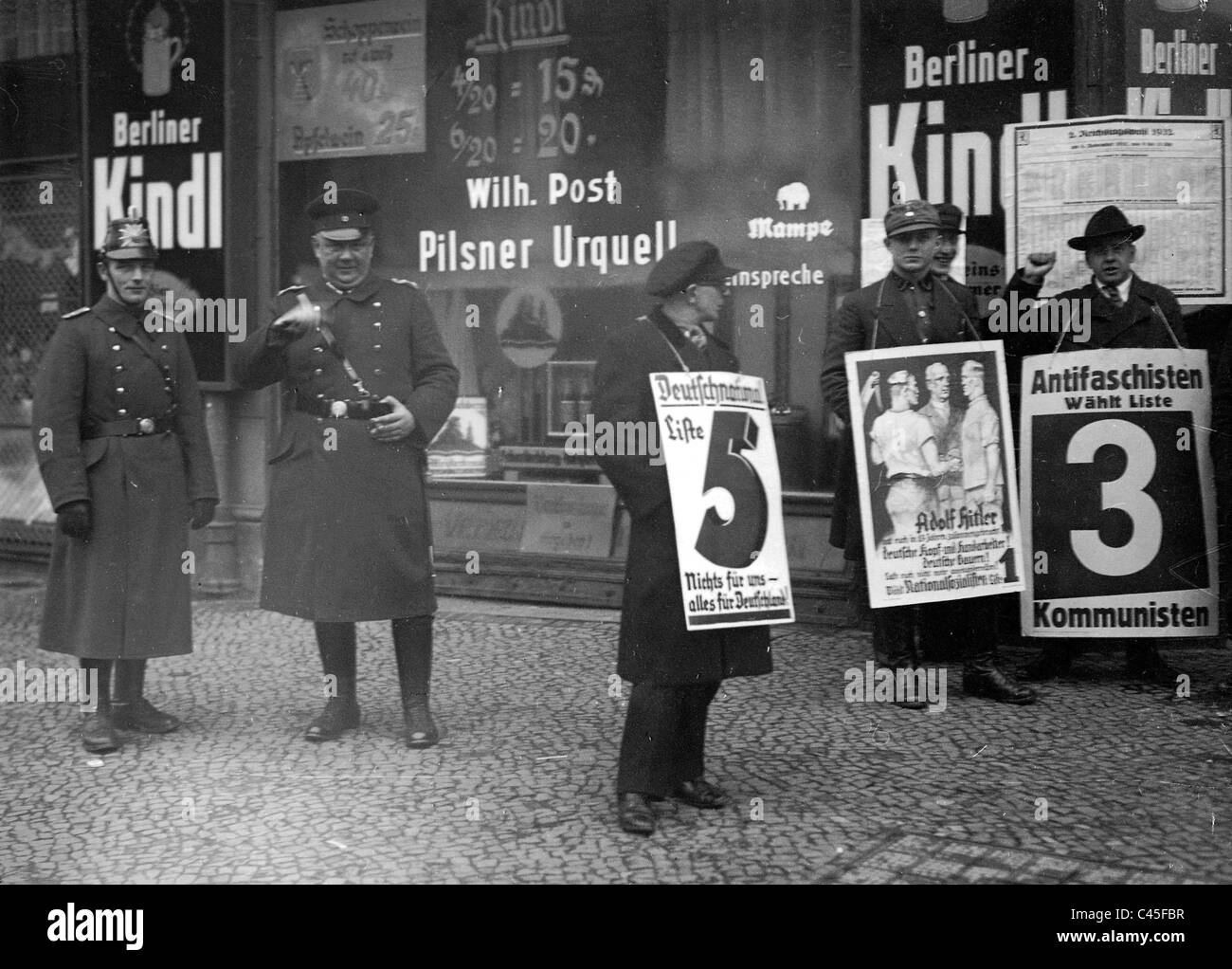 Electoral advertisements in Reichstag election. 1932 - Stock Image