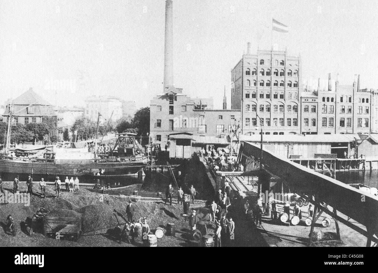 The Gdansk oil mill limited partnership on Actien Patzig and Co. at the turn of the century - Stock Image