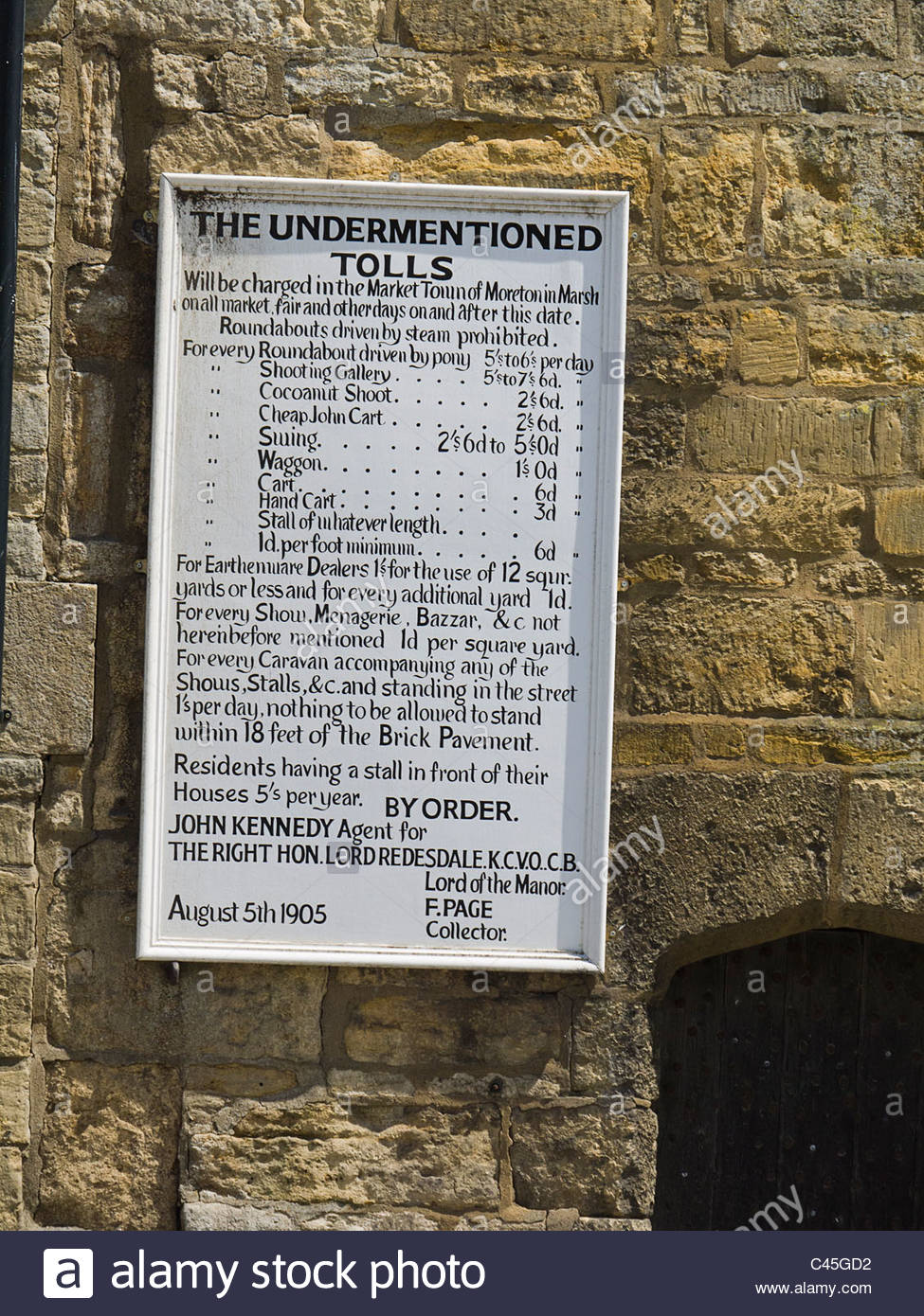 Moreton in the Marsh Notice for Market and Fair Charges 1905 Curfew Bell Tower  Gloucestershire - Stock Image