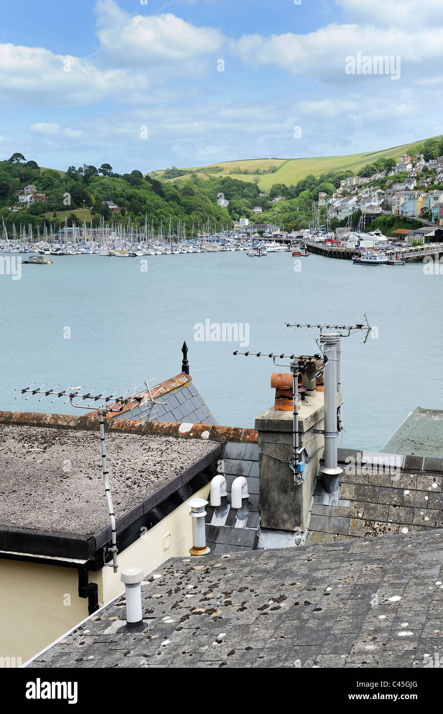 television aerials on the rooftops of dartmouth devon england uk - Stock Image