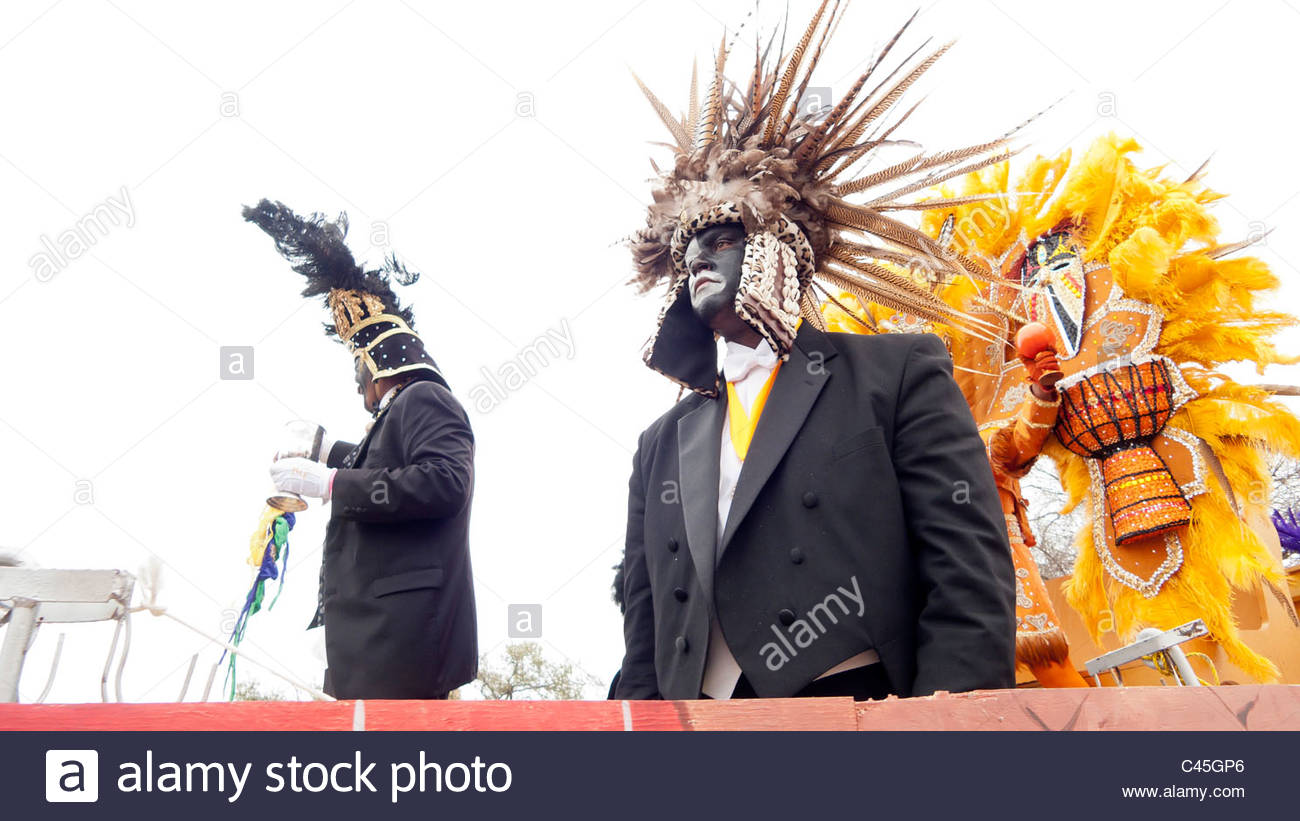 Riders in the 2011 Zulu parade on Mardi Gras day in New Orleans, Louisiana, United States - Stock Image