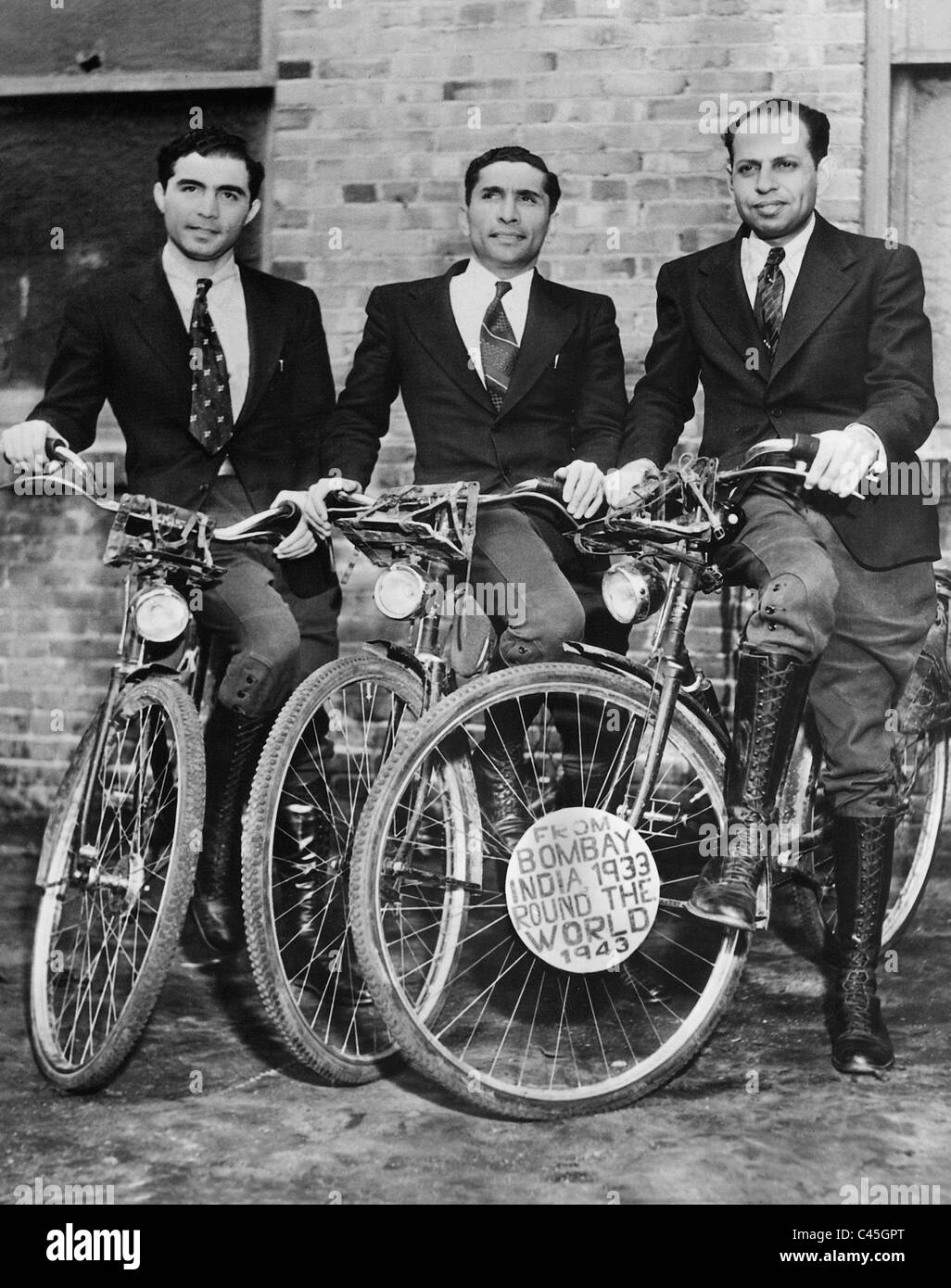 Indians on a world trip by bicycle, 1939 - Stock Image