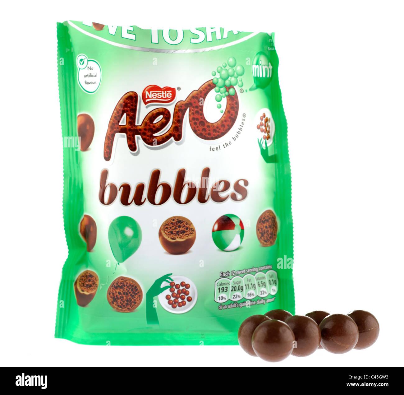 Opened bag of Nestle Aero bubbles - Stock Image