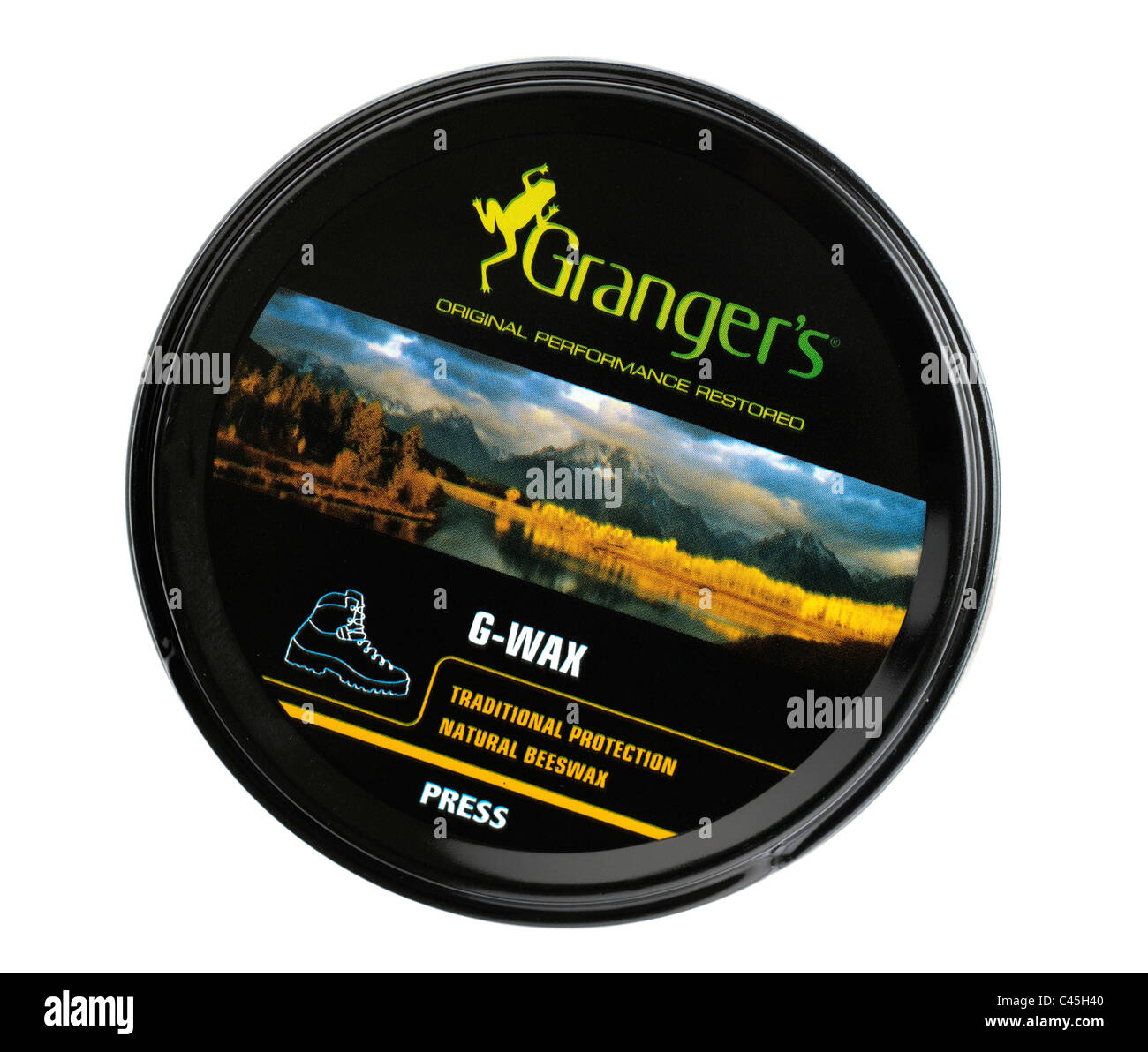 Tin of Grangers original G wax beeswax for leather boots - Stock Image