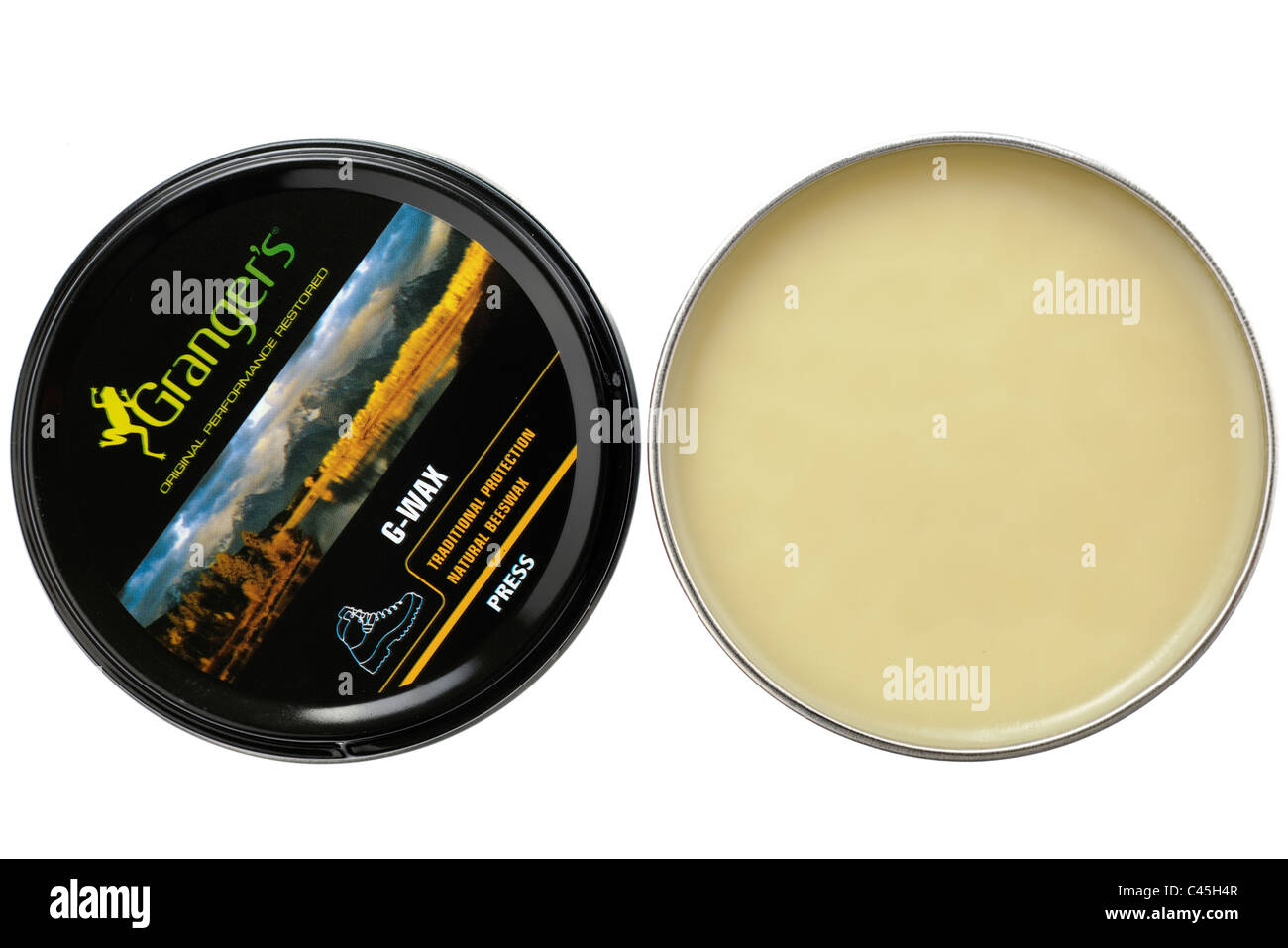 Opened tin of Grangers original G wax beeswax for leather boots - Stock Image