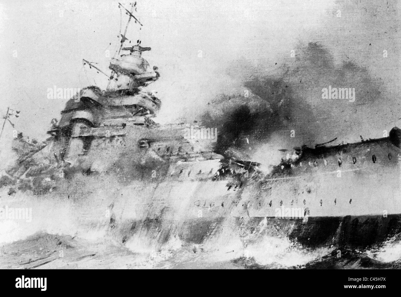 drawing-of-the-sinking-battleship-bismarck-C45H7X.jpg