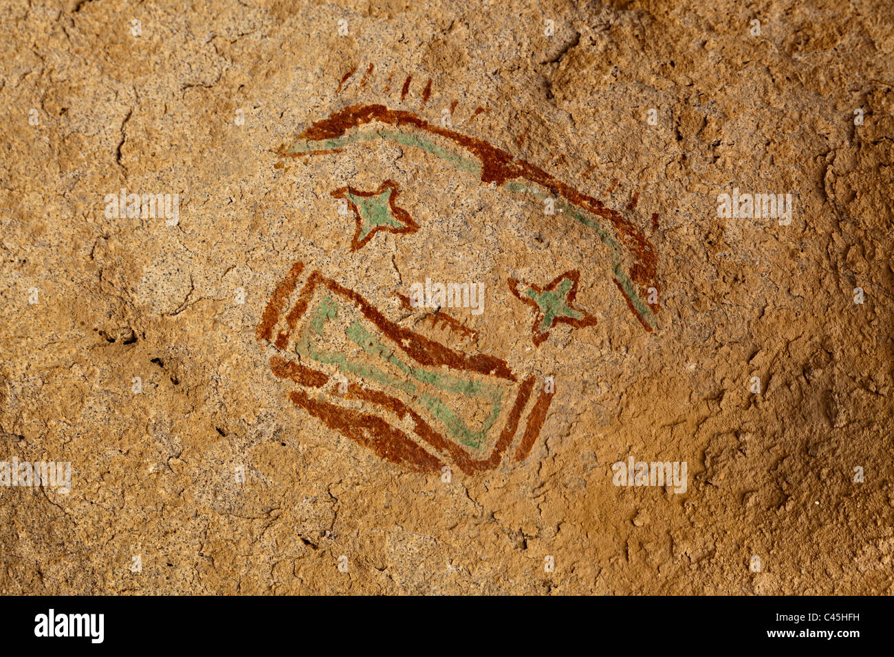 Mask pictograph on rock painting at Hueco Tanks State Historic Site Texas USA - Stock Image
