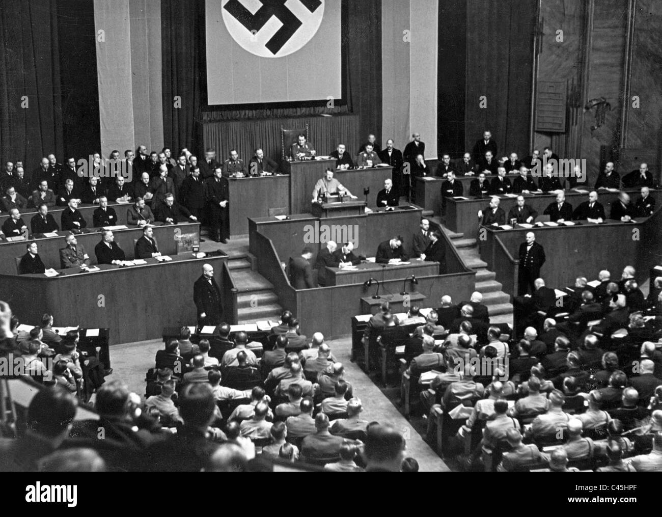 Adolf Hitler during the Reichstag session on 23/03/1933 - Stock Image