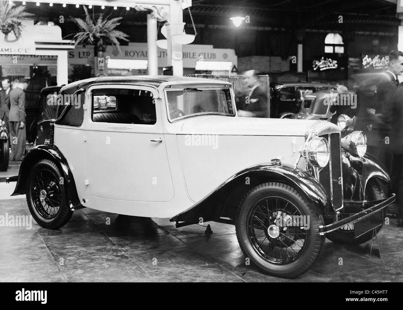 Model of a Mercedes-Benz at the Automobile show in the Olympia Exhibition halls in London, 1936 - Stock Image