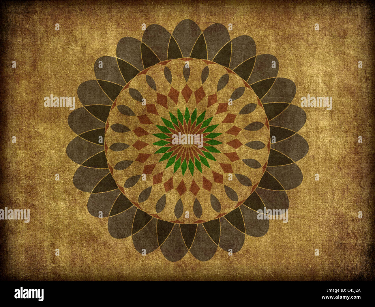 A floral spiro type, or mandala pattern on rough background texture. - Stock Image