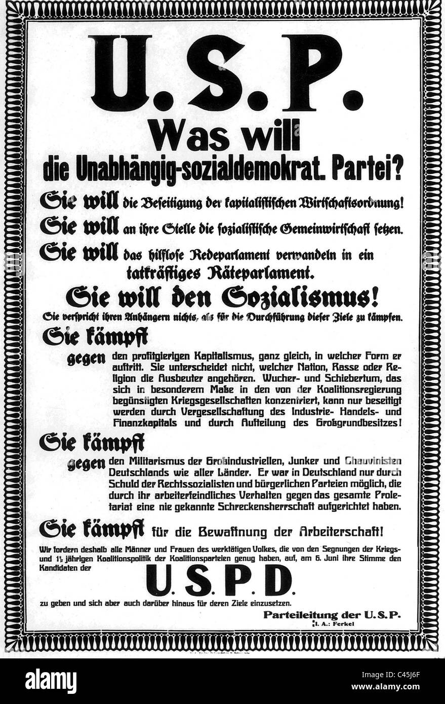 Election poster of the USPD - Stock Image