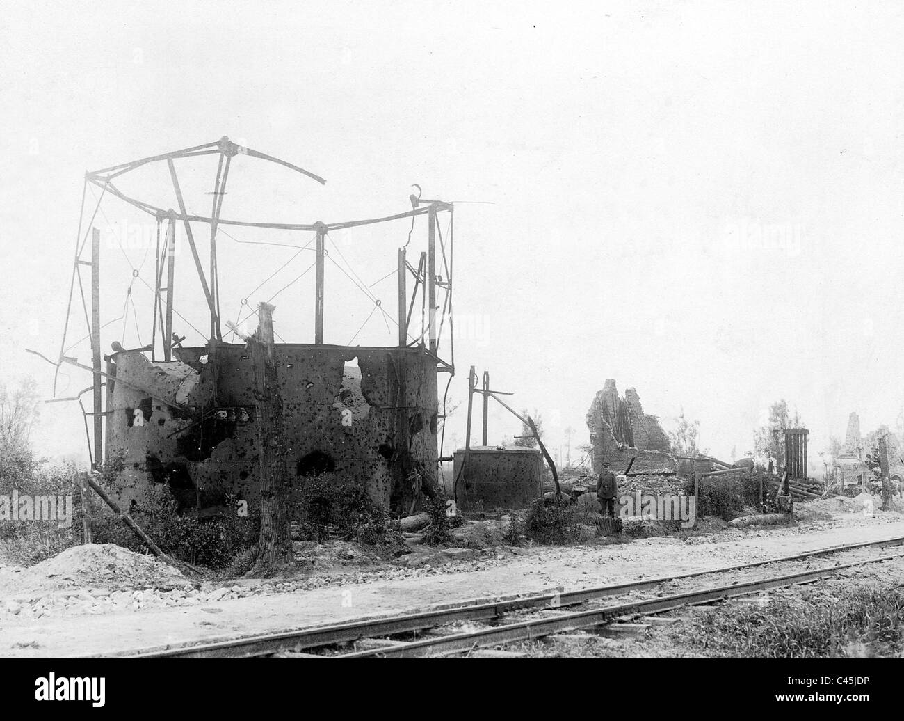 Bullet-ridden gas institution near Langemark, 1917 Stock Photo