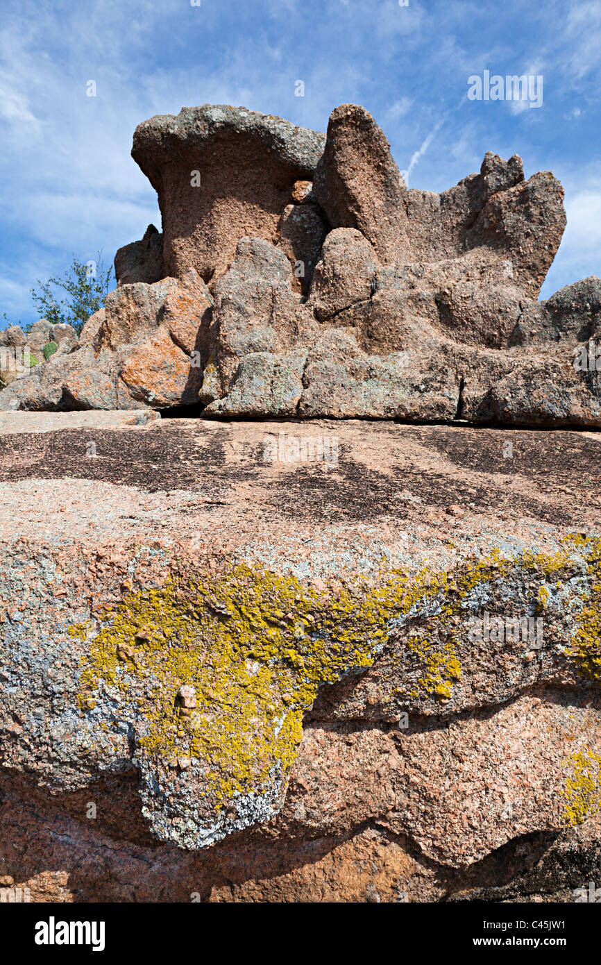Lichen on granite rocks in Enchanted Rock State Natural Area Texas USA Stock Photo