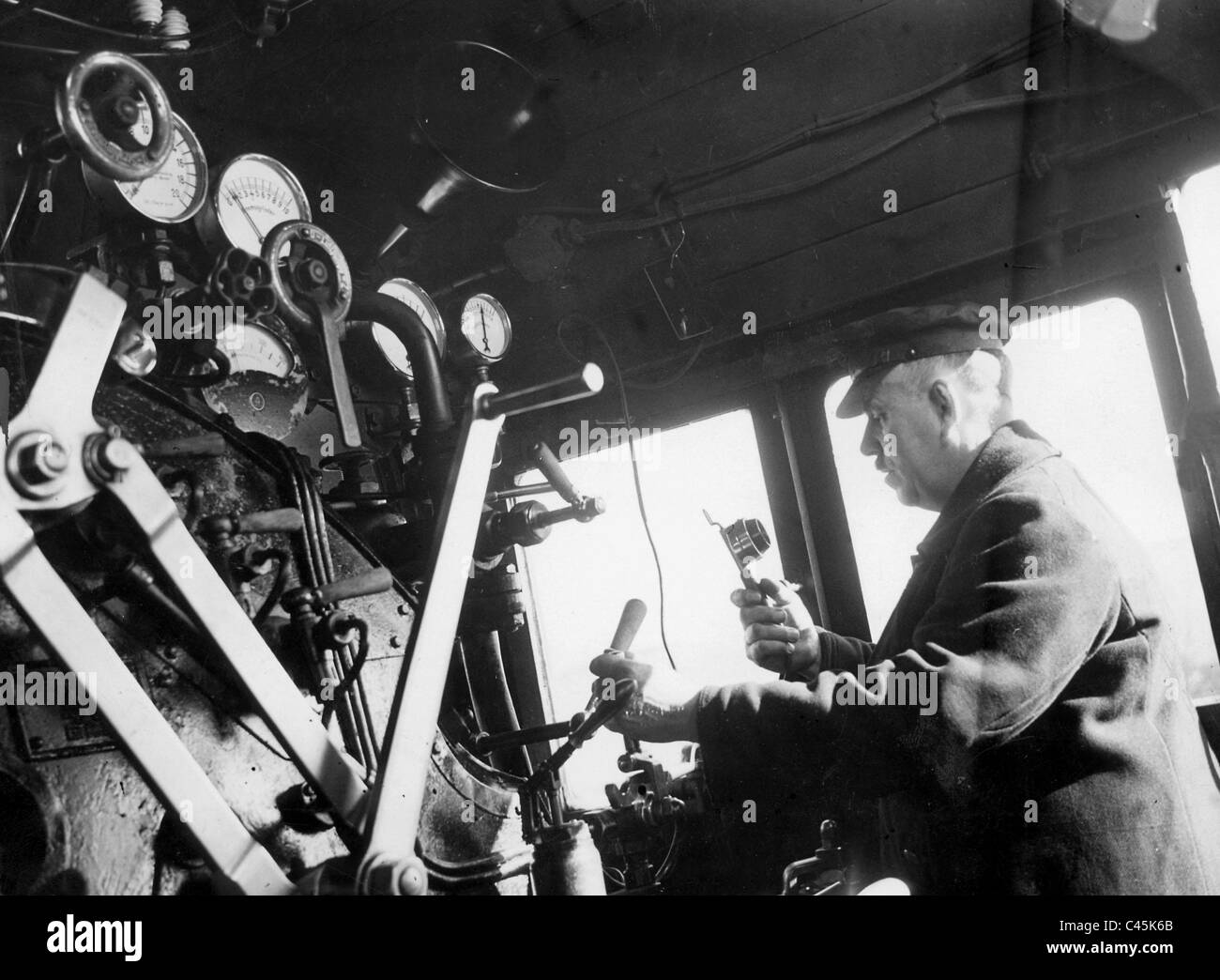 Locomotive engineer of the Reich railway, 1930 - Stock Image