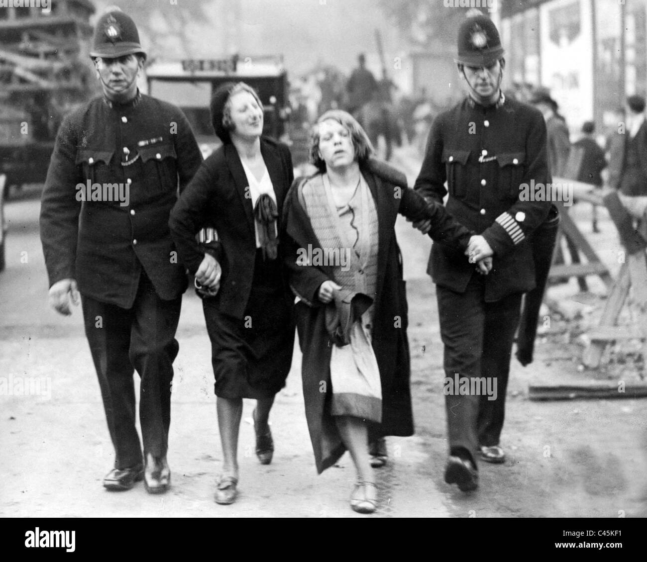 Arrest of suffragettes from London, 1928