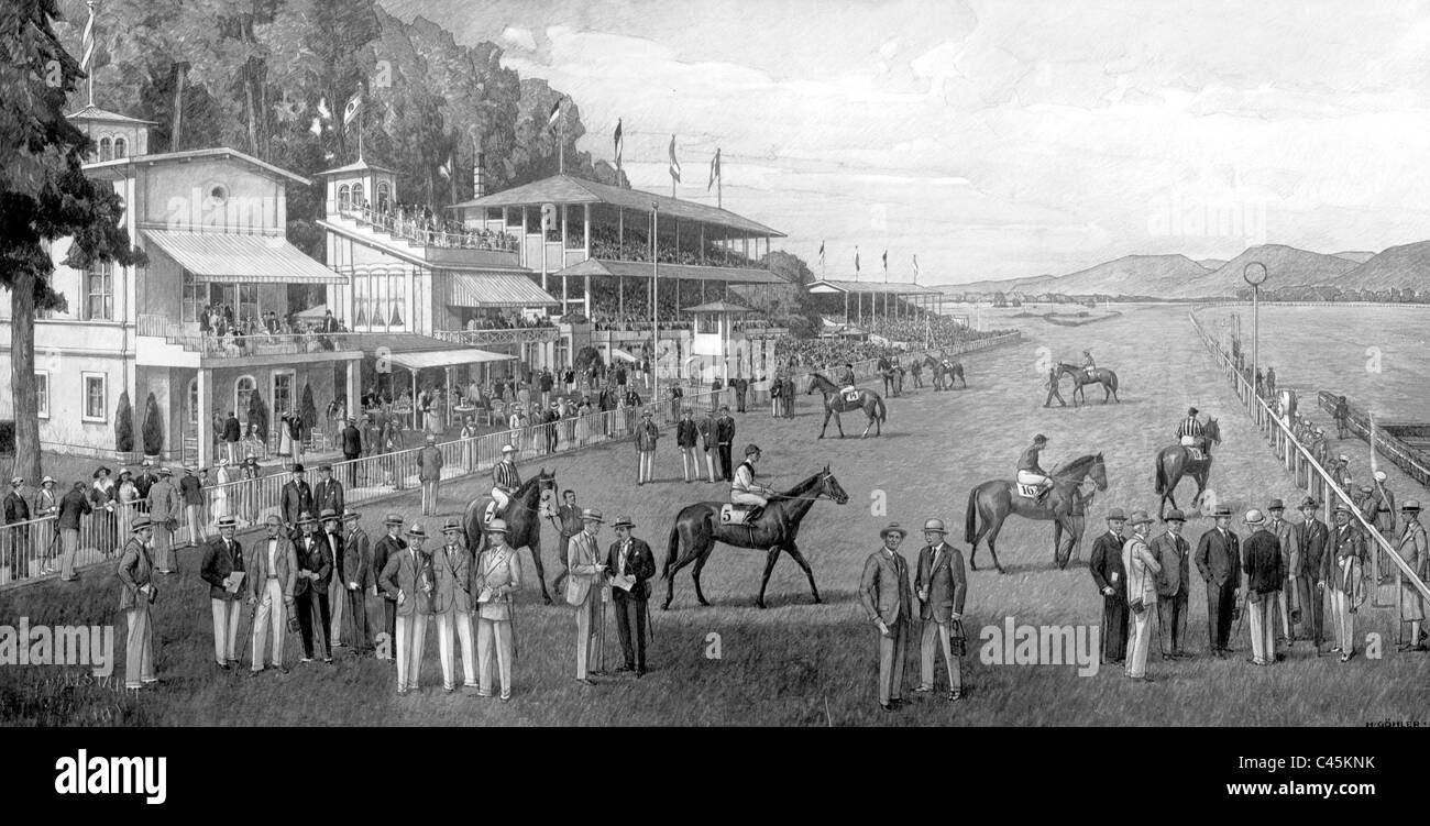 Race track in Iffezheim, 1861 - Stock Image