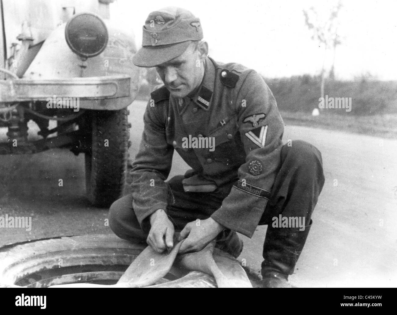 Soldier of the ss division totenkopf stock image
