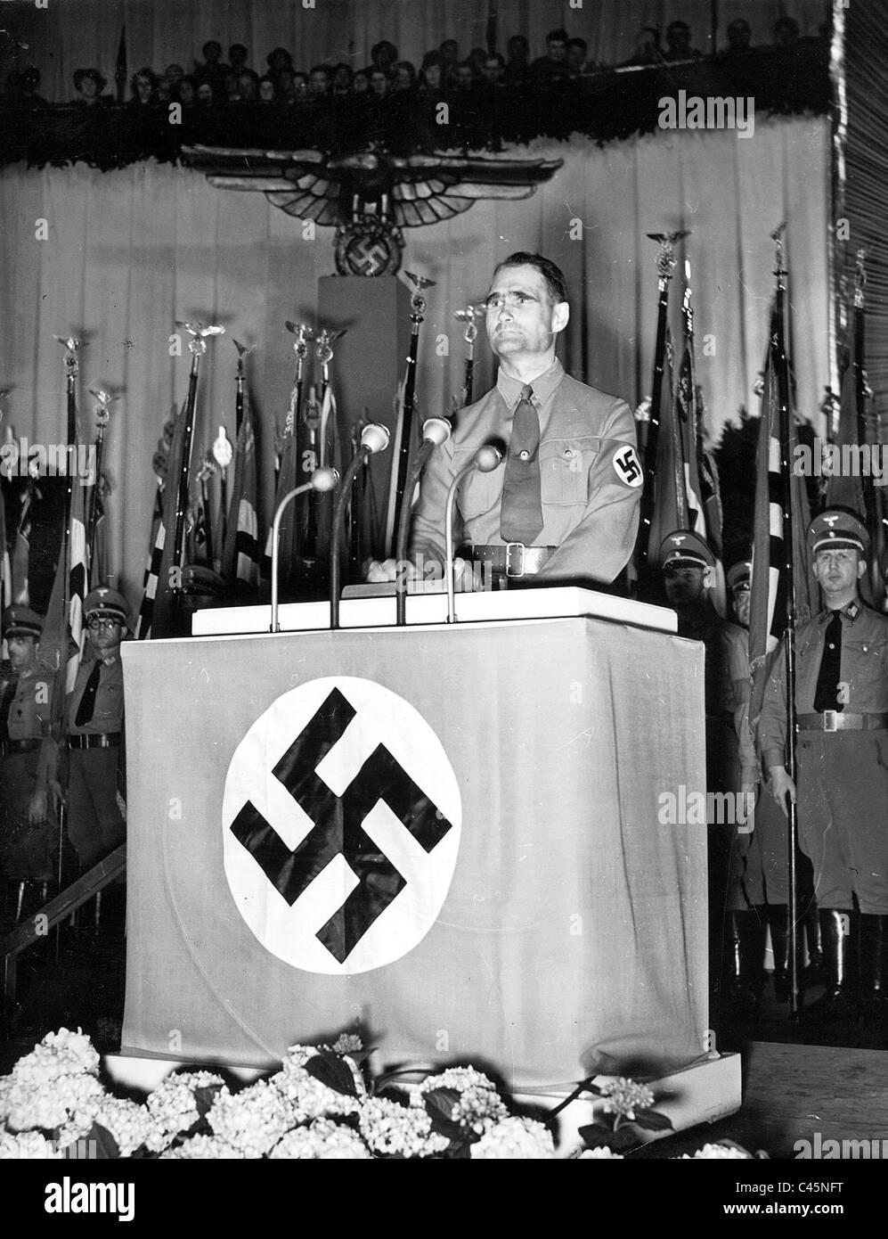 Rudolf Hess at the swearing in of the political leaders in the Berlin Sports Palace, 1939 - Stock Image