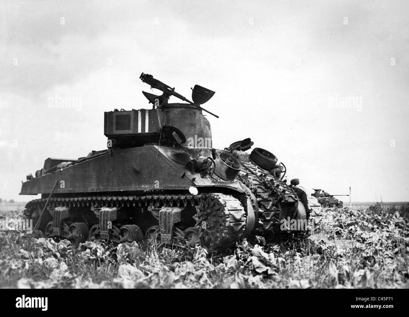 Shot down tank of the Allies on the Western Front, 1944 - Stock Image