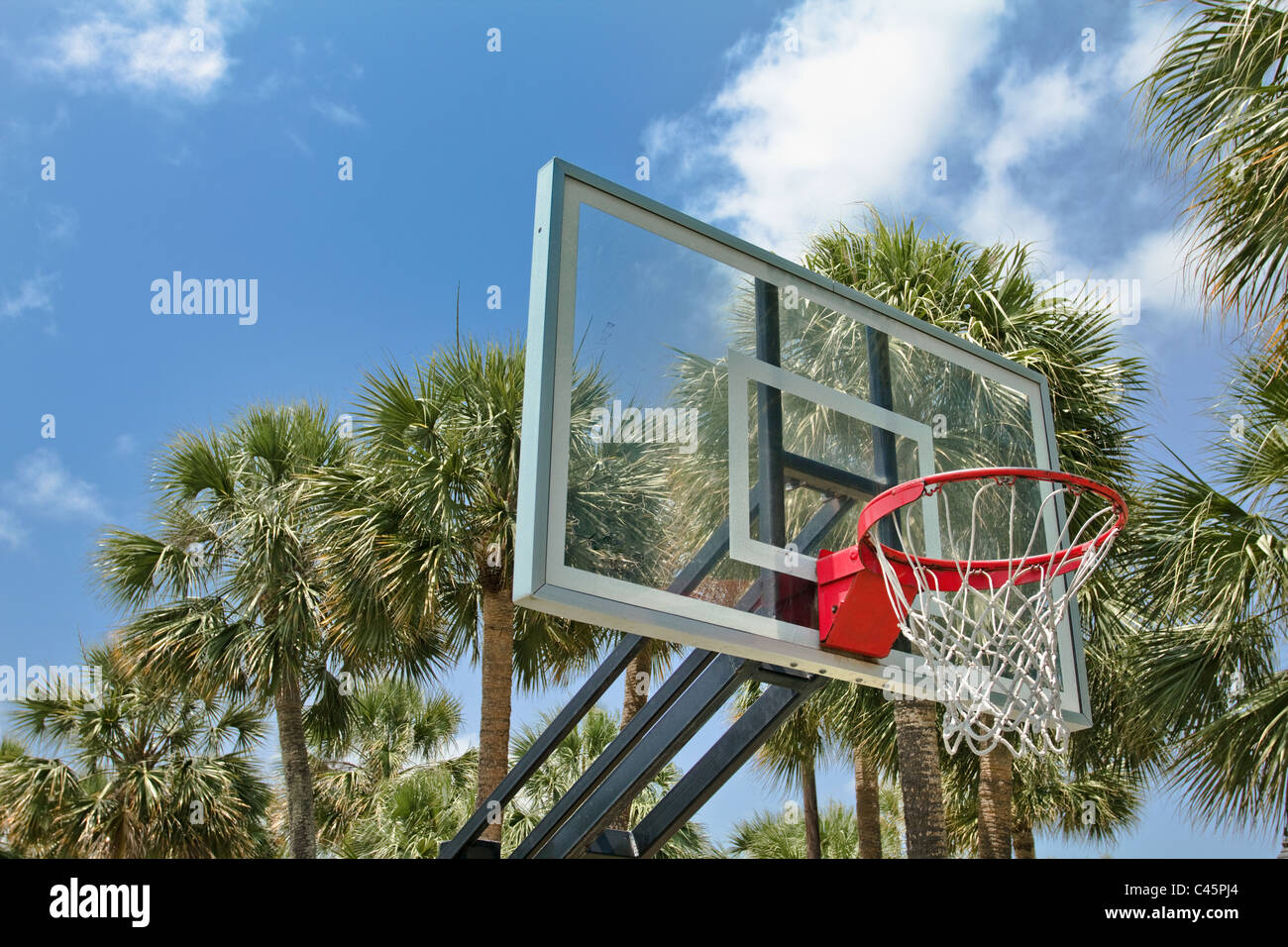 basketball hoop at city park in South Florida - Stock Image