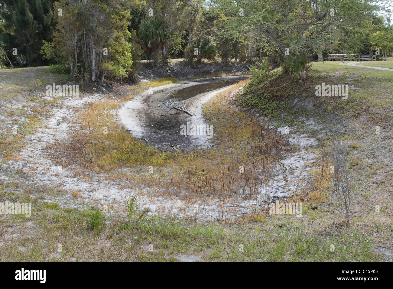 Local water storage pond dried out during drought South Florida USA - Stock Image