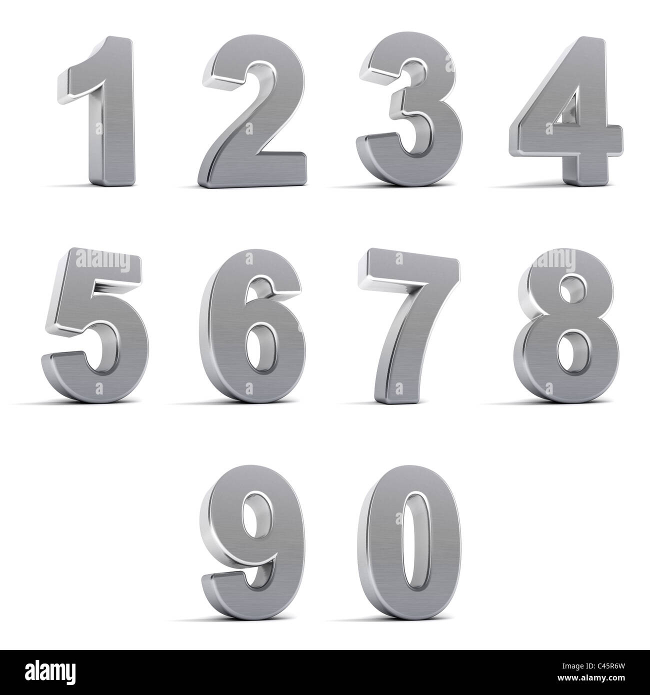 Set of chrome numbers Stock Photo
