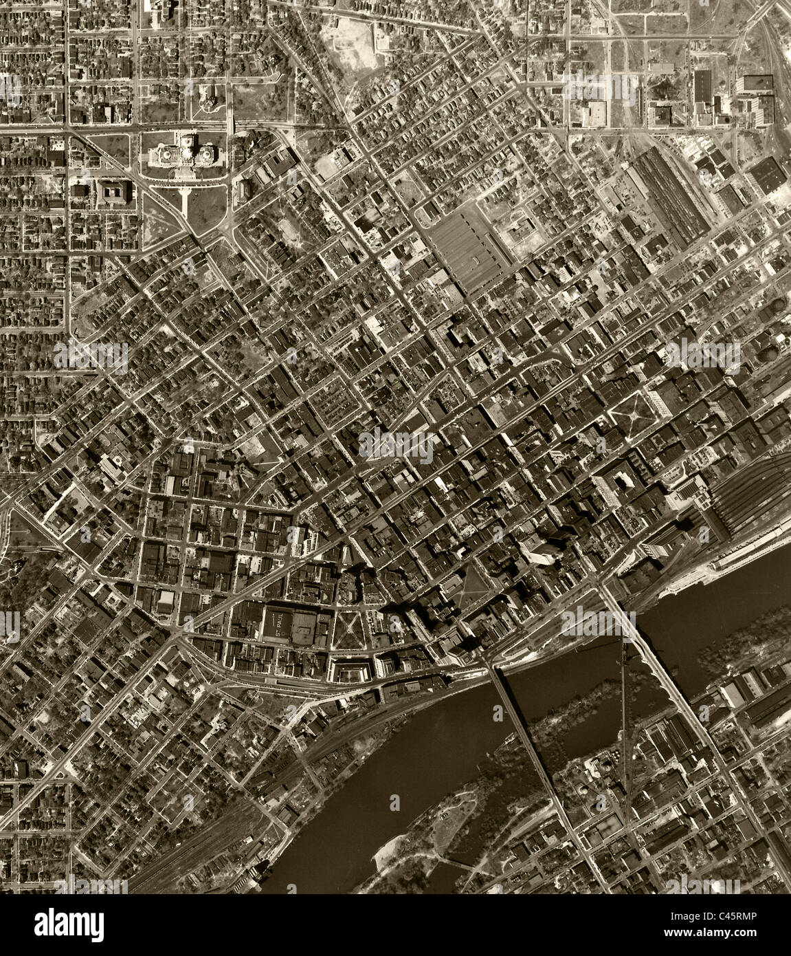 historical aerial photo map St. Paul Minnesota 1947 - Stock Image