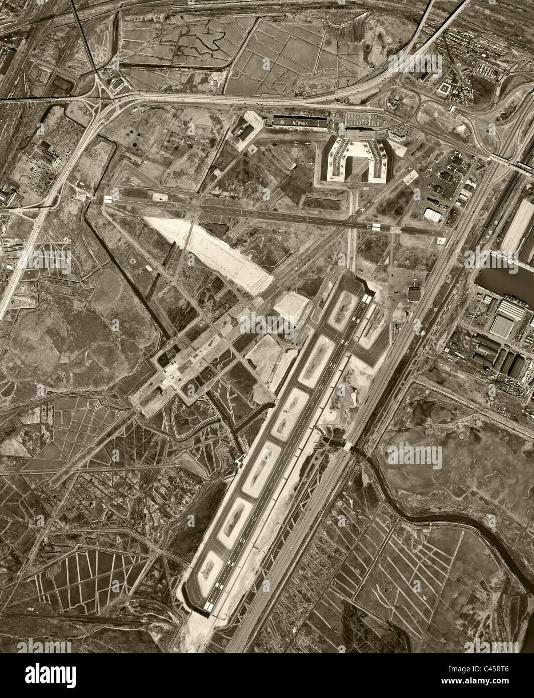 historical aerial photograph Newark airport 1954 - Stock Image