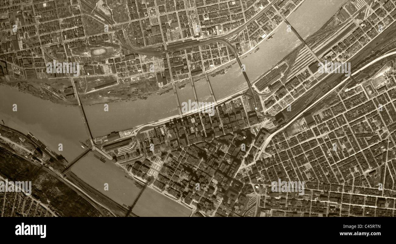 Historical Aerial Map View Pittsburgh Pennsylvania Stock Photo - Historical aerial maps