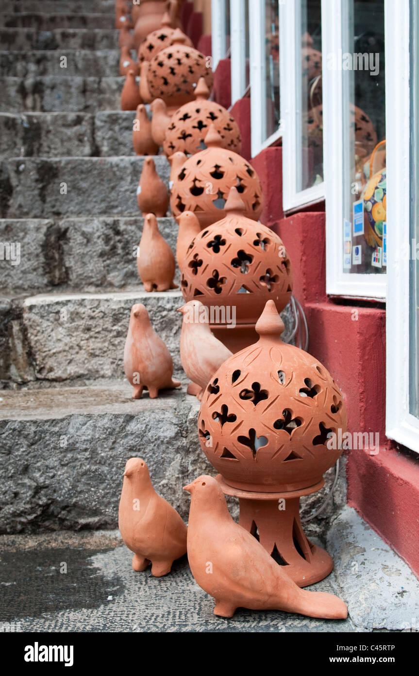 Handmade pottery from Taormina, Sicily, Italy - Stock Image