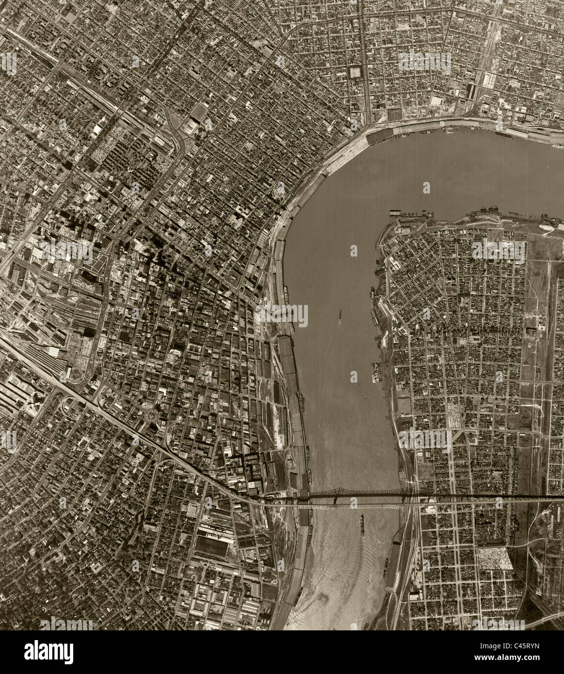 aerial map view above New Orleans Louisiana
