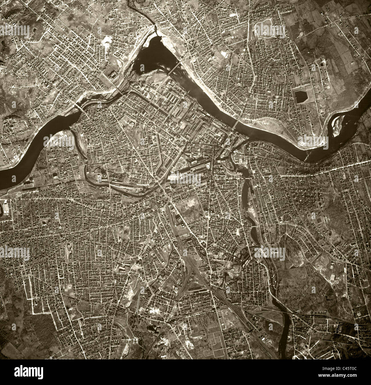 historical aerial map view Lowell Massachusetts 1938 - Stock Image