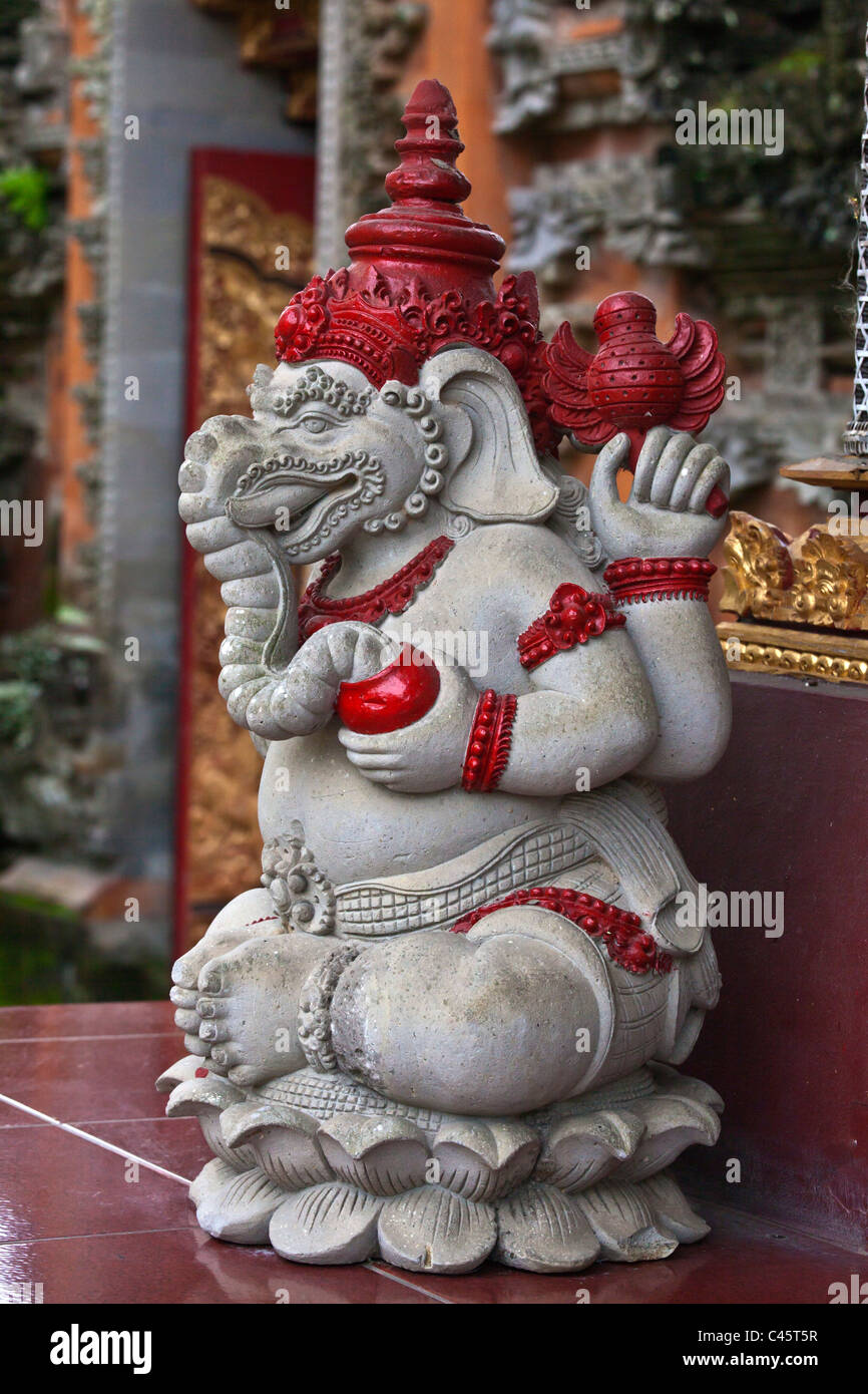 Statue of the Hindu god GANESH at PURA TAMAN SARASWATI - UBUD, BALI, INDONESIA - Stock Image