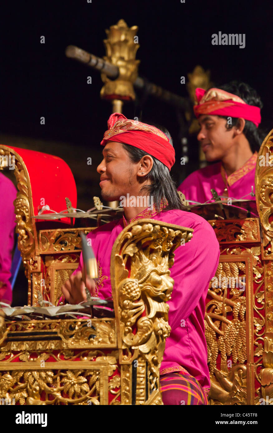 The Cenik Wayah GAMELAN INSTUMENTAL is performed at PURA TAMAN SARASWATI - UBUD, BALI, INDONESIA - Stock Image
