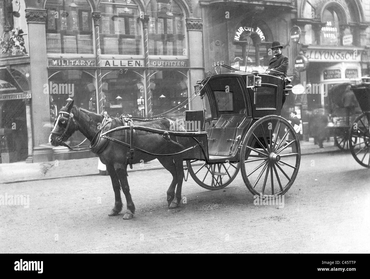 Hackney carriage in London, 1904 - Stock Image