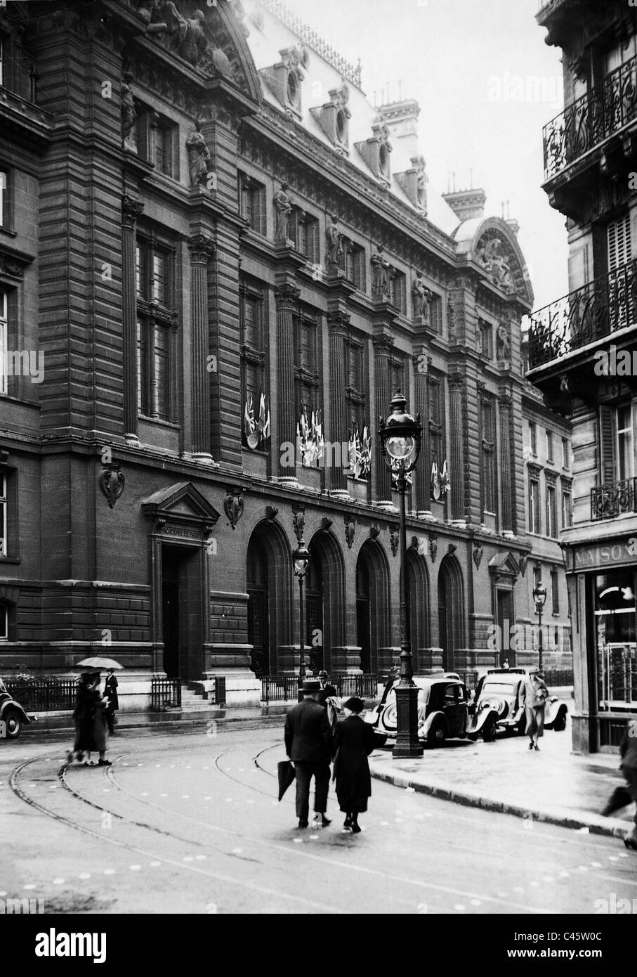 The University of Sorbonne in Paris, 1938 - Stock Image